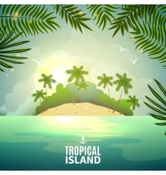 Tropical island nature poster vector
