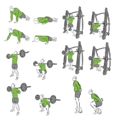 Set of systematic bodybuilding exercises vector