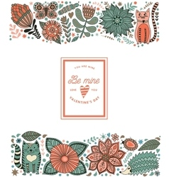leaf doodle elements made of flowers vector image
