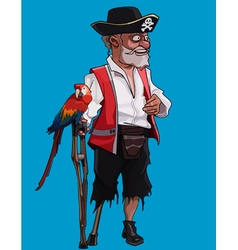 Cartoon one legged old pirate with a crutch vector