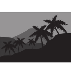 Silhouettes of palm on the hills vector image