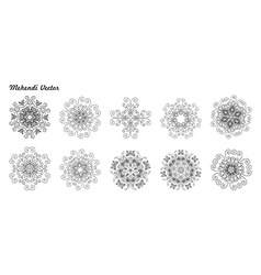 Mandala set ethnic decorative elements vector