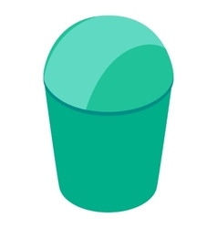 Green trash can with lid icon isometric 3d style vector