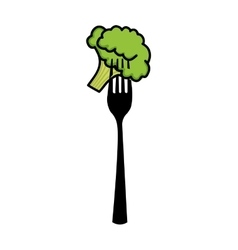 Fork with broccoli isolated icon design vector