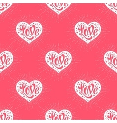 Seamless pattern with heart and lettering love vector