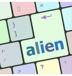Alien on computer keyboard key enter button vector