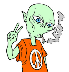 alien smoking vector image