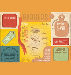 Burger placemat place for text vector