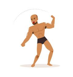 Cartoon character of wrestler in fighting action vector