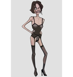 cartoon very thin woman in lingerie vector image vector image