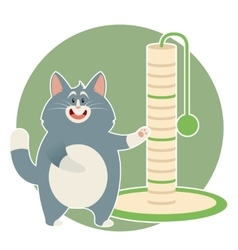 Cat and its scratching posts vector