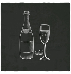 Champagne on black old background vector