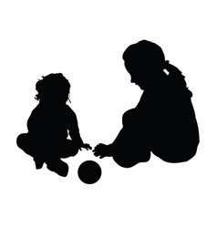 Children silhouette with ball vector