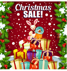 Christmas holiday sale promo gifts poster vector