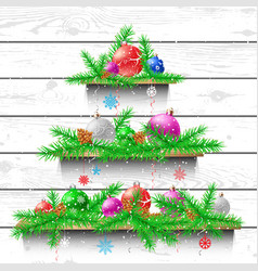 christmas tree of wooden shelves vector image vector image