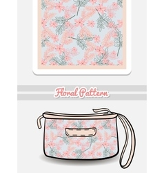 Cosmetic Bag Pink And Blue Flowers vector image