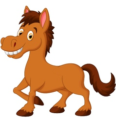 Cute cartoon brown horse vector image