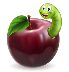 cute caterpillar apple vector image vector image