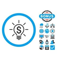 Electric light price flat icon with bonus vector
