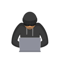 flat hacker with laptop isolated vector image vector image