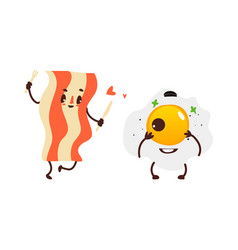 Funny sunny side up egg and fried bacon strip vector
