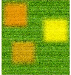 Green textured background with yellow squares vector image vector image