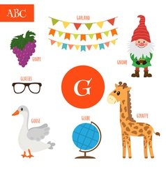 Letter G Cartoon alphabet for children Giraffe vector image vector image