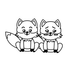 Line cute couple fox wild animal with beautiful vector