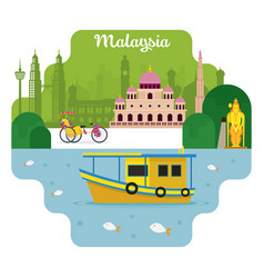 Malaysia travel and attraction vector