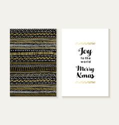 Merry christmas joy card set pattern gold tribal vector image