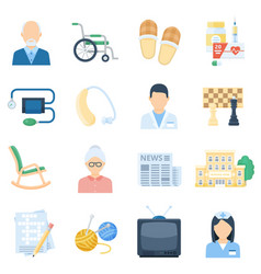 Nursing home care cartoon set vector