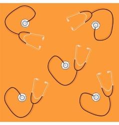 phonendoscopes on orange background vector image vector image