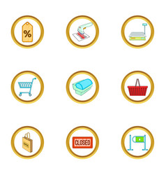 Purchase icons set cartoon style vector