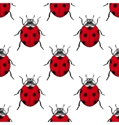 Red ladybugs vintage seamless pattern vector image vector image
