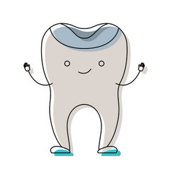 Restored tooth cartoon in watercolor silhouette vector