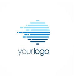 Round line speed technology logo vector