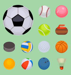 set of balls isolated tournament win round basket vector image vector image