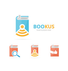 set of book logo combination novel and signal vector image vector image