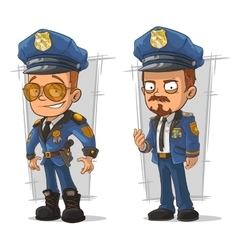 Set of cartoon cops in blue uniform vector