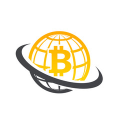 swoosh globe bitcoin logo icon vector image
