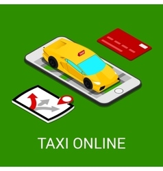 Taxi service mobile application isometric car vector
