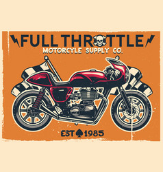 Vintage cafe racer motorcycle poster vector