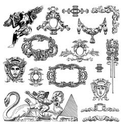 Vintage sketch calligraphic drawing of heraldic vector
