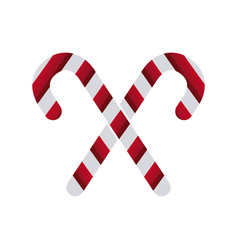 White and red stick candy sweet xmas crossed vector