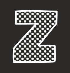 Z alphabet letter with white polka dots on black vector