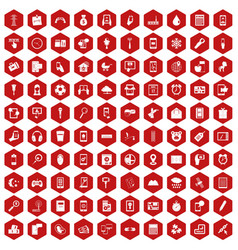 100 mobile app icons hexagon red vector