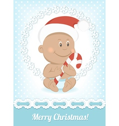 Funny Christmas African baby vector image