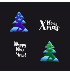 Happy new year typography and trees vector