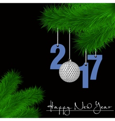 Golf ball and 2017 on a christmas tree branch vector