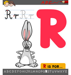 letter r with cartoon rabbit vector image
